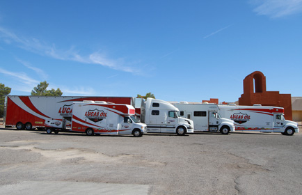 Lineup of Lucas Oil Production trucks.